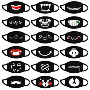 100 Máscaras algodón de las PC de la cara Negro manera de la boca Máscaras Earloops transpirable de tela de dibujos animados lindo Máscaras Mascherine En el polvo anti Stock FY9044
