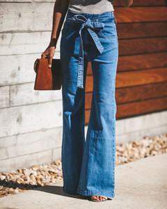 Женщины ботинок срезанных Джинсовые Jeggings джинсы для брюк Широкий ноги Flare клеш Брюки Свободная перевозка груза новая