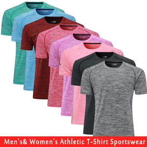 Hommes frais et sec Compression Baselayer manches courtes T-shirts Fit Dry Gym Workout Courir Jogging TShirts Chemises Sports de plein air TShirts