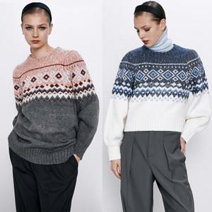 2020 기하학적 프린트 니트 스웨터 여성 스웨터 멀티 스타일 라운드 칼라 가을 겨울 자카드 패션 레트로 니트 원피스
