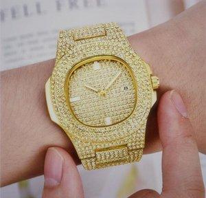Buzlu Out Altın Büyük Lüks Erkekler Moda Aşıklar Çiftler Saatler Elmas Tasarımcı Erkekler Saatler Erkek Kadın Elbise saatı Toptan