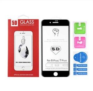 5D Gekrümmte Kante zu Kante Voll Kleber für iPhone 11 XS MAX XR Full Cover ausgeglichenes Glas-Schirm-Schutz für iPhone 8 7 6S Plus-mit Kleinkasten