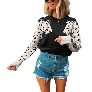 Frauen gestrickte Pullover Leopard Langarm-Tops Damen Freizeit Knit lose Pullover Pullover Herbst-Winter-warme Strickwaren Frauen Neue