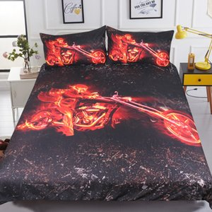 Flame Motorcycle Bedding Set 3D Printed Burning Skull Duvet Cover Red Black Bedclothes For Boys Queen King Size