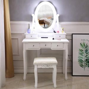 Ev Makyaj Makyaj Masa ve Sandalye Takımı, Güzellik Yukarı Dışkı Ayna, Beyaz Ahşap Vanity ile Set oyna olun Pretend Yukarı Tablo ve Dışkı Set Make