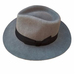 Classic Grey Men's Wool Felt Godfather Fedora Gangster Mobster Hat