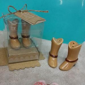 Único recuerdo de boda para invitados Sólo enganche de cerámica, bota, salero y pimentero, 30 sets, por mayor