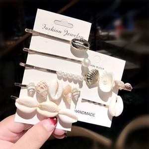 Clipes 1Set New Design Shell real Conch Starfish Cabelo marinhas para Mulheres Meninas Headban Grampos Barrettes Acessórios de cabelo