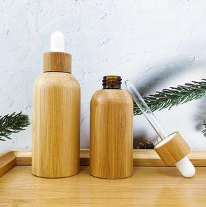 Cam Pipet Makyaj Cam kaplar Ahşap Cap ile 50ML 100ML Eşsiz Doğal Bambu Esansiyel Yağı Boş Kozmetik Damlalık Şişe