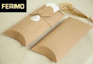 20pcs 18.5*7.8*3cm 20*10*4cm Packaging Paper Kraft Box Small Pillow Shape Kraft Gift Box Thicken Blank Paperboard