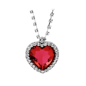 Rose Collection Heart of The Ocean Created red or blue and White Sapphire Pendant-Necklace