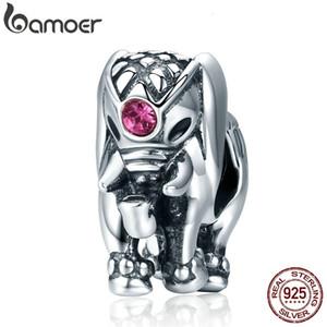 BAMOER Uçan Dumbo Boncuk% 100 925 Gümüş Tayland Lucky Elephant Charms Kadınlar Bilezikler Güzel Takı SCC321 CJ191116 sığacak