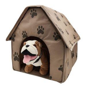 47 * 49 * 49 CM Pet Cat Bed Casa Dobrável Pés Macios Destacáveis Impresso Pet Dog Cat Bed Casa Quente Apoio Atacado