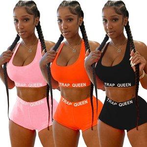 Designer Mulheres Two Piece roupas de verão Shorts Treino Impressão Carta Top camiseta Calças + Define senhoras sweatsuits Hot Roupa S-XXXL