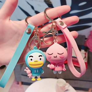 2020 Cute Fart Peach Keychain Cartoon Silicone Big Mouth Duck And Bear Key Chains For Men And Women Car Bag Pendant Key Ring