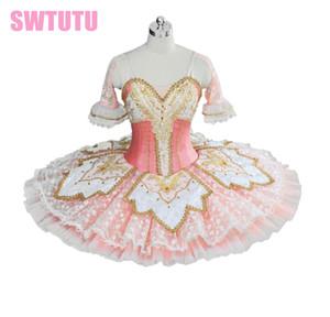 o envio gratuito de adultos Alto grau de tutu de ballet rosa com rendas perfromance tutu do bailado para meninas competiton tutuBT9039