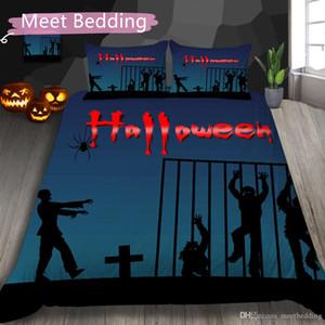 Lüks Modern Yatak Seti Çift Tam Kraliçe Mutlu Halloween serisi Ev Tekstil Yatak Suit kabak kafatası yazdırmak 3d