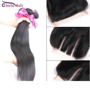 El pelo humano peruano recto sin procesar de la Virgen teje 3 paquetes con el cierre del cordón Tramas baratas de la vía láctea Paquetes de cierre superior de seda