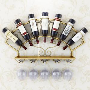 Modern, Metall, Wein-Halter Ständer für 7 Flaschen Wand befestigten Weinflaschenständer Glas Lagerung Regal Whisky Rotwein Preferred
