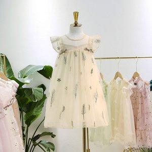 Niños vestido de encaje tutu verano gasa lentejuelas florales bordado de plumas vestido para niñas perlas Arcos falbala manga princesa niños vestido