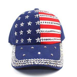 Американский Флаг Кристалл Бейсболка Бейсболка Женщины Мужчины Лето Snapback Хип-Хоп Шляпа Bling Rhinestone Полоса Звезды Cap LJJJ91