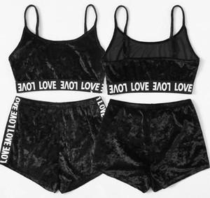 2 개 벨벳 잠옷은 여성 잠옷 두 조각 정장 여름 스파게티 스트랩 반바지 잠옷 소녀 섹시한 세트 속옷 GGA3490을 설정합니다