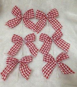 Decorazione per finestra forniture albero di Natale Piccolo rosso e pendenti arco bianchi merci di esportazione! 6 pacchi