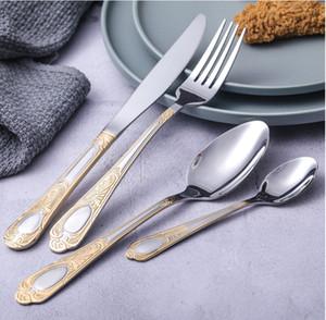 2020 الذهب أدوات المائدة جديدة الفولاذ المقاوم للصدأ أطباق مجموعة أدوات المائدة أواني سكين شوكة ملعقة مطبخ تناول الطعام بار أدوات 4PCS / مجموعة