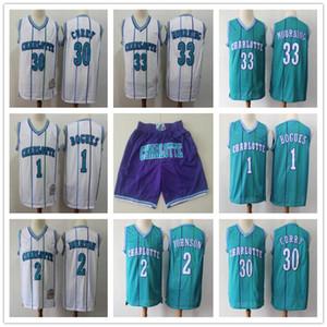 Mens CharlotteavisponesRetroceso azul 33 Alonzo Mourning 2 Larry Johnson 1 Bogues 30 Dell Curry baloncesto pantalones cortos de baloncesto jerseys