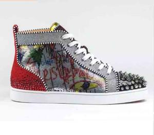 2019 Nuovo arrivato Bottom Red Designer Sneakers Uomo Scarpe Luxury Print Argento Pik Pik No Limit Rantus borchie di versione Strass graffiti rosso S