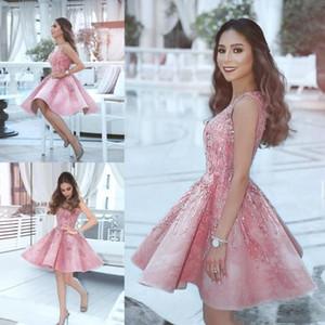 Новый Дубай Blush Pink Homecoming платье vestidos V шеи без рукавов Линия осень Выпускные платья Beads Короткое коктейльное платья BC2385