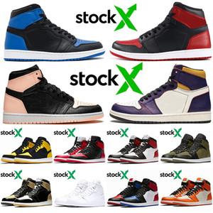 Nike Air Retro Jordan 1 zapatos de baloncesto de los hombres nueva llegada 1S Top OG Diseñador carmesí Tinte Corte Amor púrpura amarillo Jumpman Marca Bred formadoras zapatillas