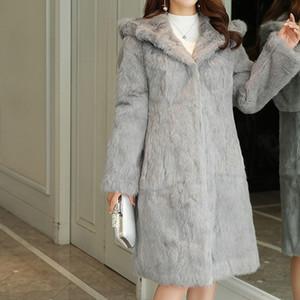 2019 TONFUR classique Lapin réel naturel Manteau de fourrure longue avec capuche en fourrure et chaud pour l'hiver Taille Plus 7XL fourrure manteau sr430 Y191205