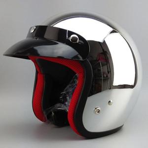 Espelho de Prata Cromo Vespa Capacete Da Motocicleta Rosto Aberto Moto Harley Capacetes De Moto Retro Casque Casco Motoqueiro DOT