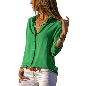 Soild Women Shirt 2019 Spring Autumn Casual Chiffon Blouse Long Sleeve Deep V Neck Button Office Work Wears Top Plus Size S-XXXL