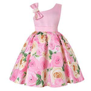 Les filles s'habillent d'une épaule robe de fleur pour les filles cadeau d'anniversaire costume princesse enfant fille robes robes vêtements pour enfants
