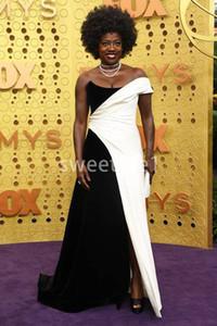 2019 Yeni Emmy Ödülleri Siyah Beyaz Straplez Ünlü Elbiseler A Hattı Yan Bölünmüş Red Carpet Örgün Akşam Durum Gelinlik Modelleri Custom Made