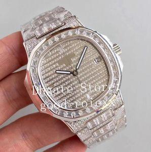 Luxury Mens Automatic Cal.324 SC Guarda completo Pave rettangolo diamante Dial Bracciale Platinum Nautilus strass 5719 10G cristallo Orologi