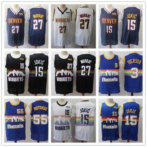 Hommes DenverThrowback Dikembe Mutombo 55 Allen Iverson 3Nikola 15 Jokic Jamal 27 Murray Basketball Maillots Basketball Shorts