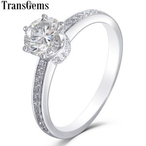 Transgems Classic 14k 585 White Gold 1ct 6.5mm F Color Moissanite خاتم الخطوبة للنساء مع Moissanite على الفرقة Y19032201