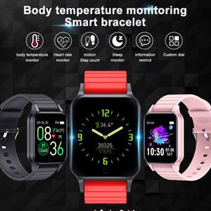 T96 الذكية ووتش يقيس درجة حرارة الجسم معدل ضربات القلب والدم الأوكسجين ضغط الدم مراقب الذكية سوار للياقة البدنية المقتفي فرقة ساعة ذكية