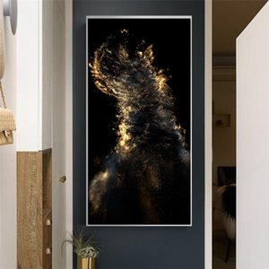 Modern Abstract Gold and Black Oil Painting on Canvas Wall Art Pictures for Living Room Luxury Nordic Bedroom Home Decor