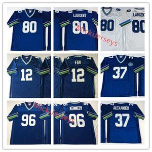 Mens NCAA # 80 Steve Ларгент Vintage футбол Джерси прошитой # 37 Shaun Alexander # 96 Cortez Кеннеди # 12 ВЕНТИЛЯТОРЫ Джерси S-3XL
