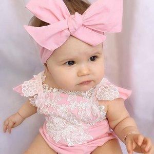 Neonata ragazza senza maniche fiore cotone pagliaccetti pizzo floreale manica voluta tuta fascia abiti tuta estate pagliaccetti