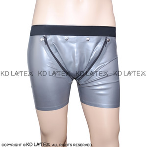 Sexy Latex Boxer Shorts With Black Trim Cod piece Two Zippers Open holds Fetish Rubber Boy Shorts Underpants Underwear Bondage Pants DK-0065