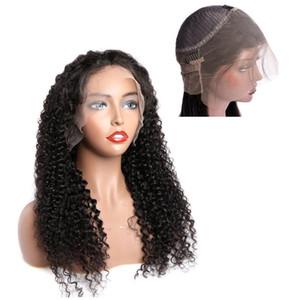 Brasilianische vorgepftete lockige Welle 360 Grad Schweizer Spitze Frontal Human Hair Perücken mit natürlichem Haaransatz Jungfrau Peruaner