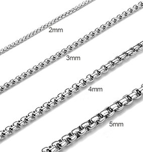 Fashion Hip Hop Titanium Steel Jewelry Silver Square Pearl Rope Chain Necklace Link Chain for Men