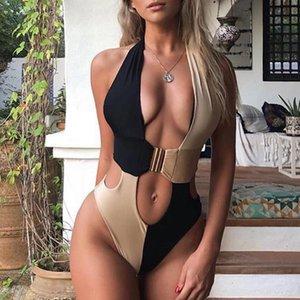Mayo 2019 Yeni yukarı Splice Toka Bikini Mujer parça bikini Seksi Kadın Mayo One Piece Yüksek Kesim Mayo Kadınlar yıkayan itin