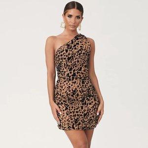 Tiger Print One-spalla del partito Vestito aderente autunno di estate Abito senza maniche Sexy Club Dress donne Mini Vestidos