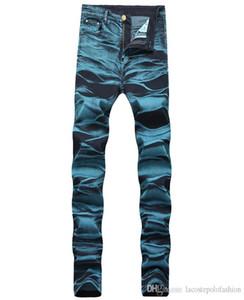 Blue Washed Zipper Fly Man Pencil Jeans Designer Mid Waist Man Long Pants Fashion Hemme Jeans